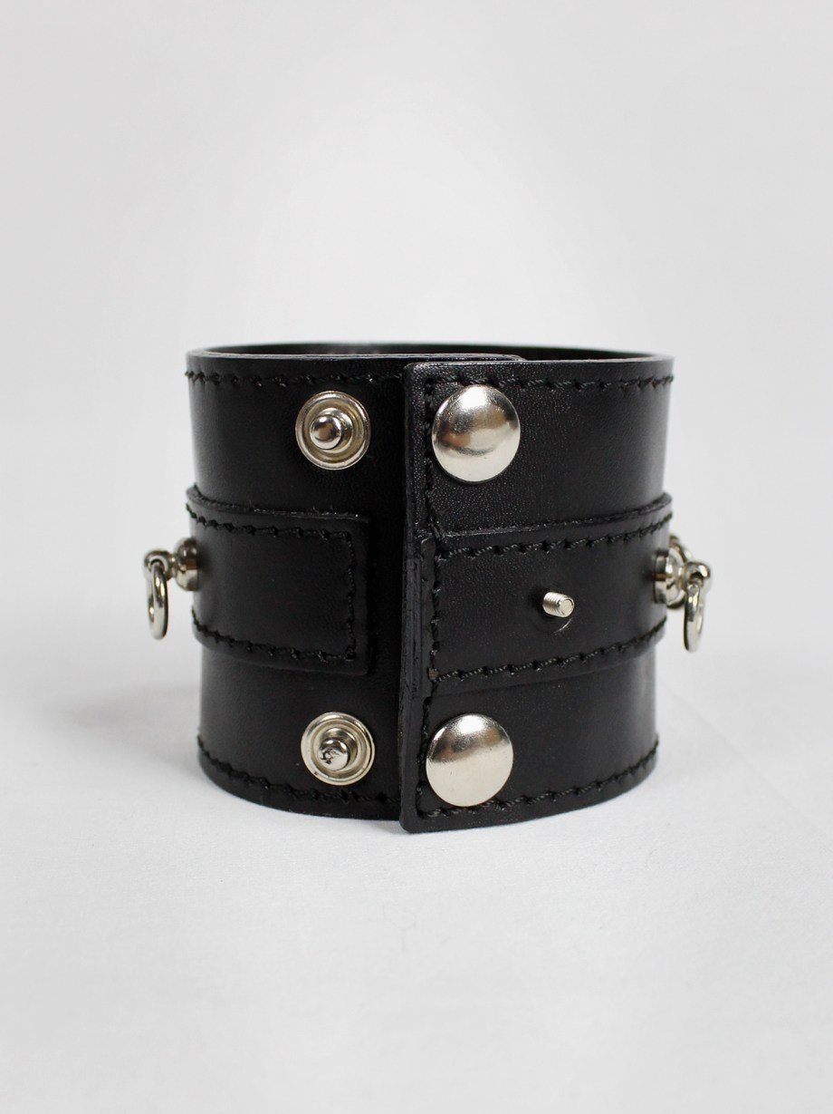 Xavier Delcour black leather bondage bracelet with silver rings