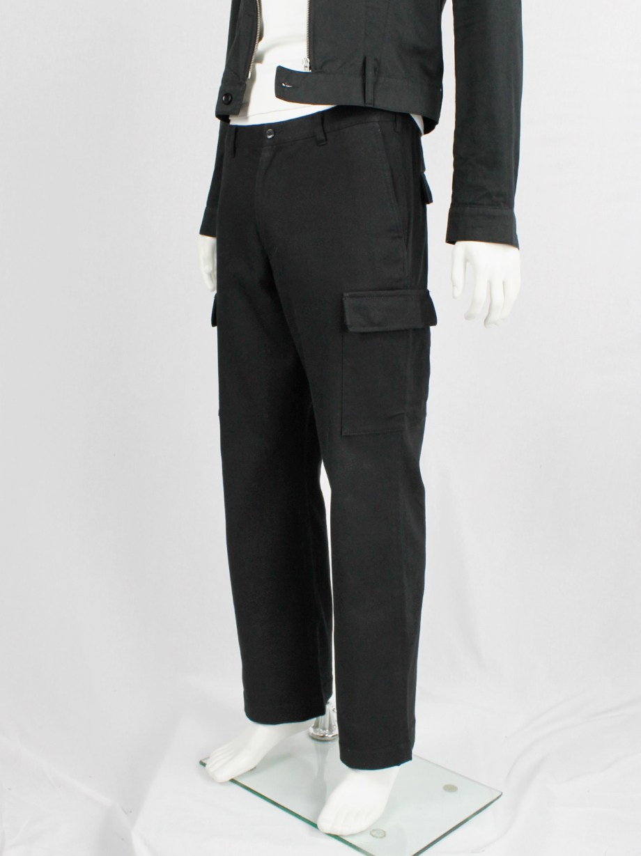 Y's for men black straight trousers with cargo pockets — early 1990's