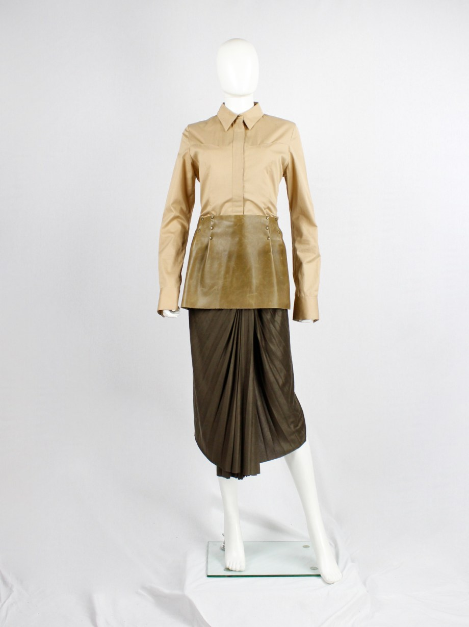 A.F. Vandevorst brown leather mini skirt with bronze studs — fall 1998
