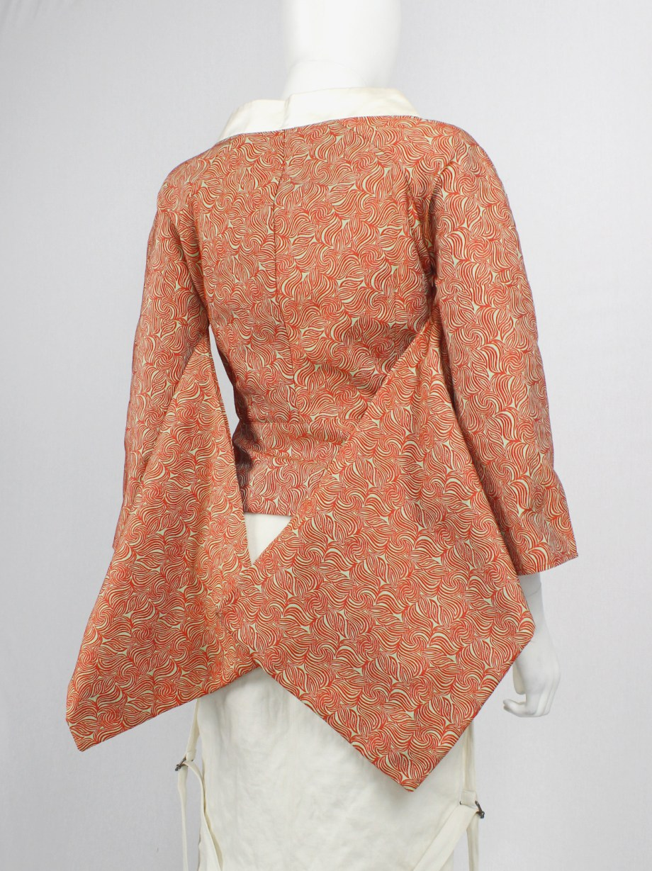 A.F. Vandevorst red and gold brocade top with kimono sleeves — spring 2002