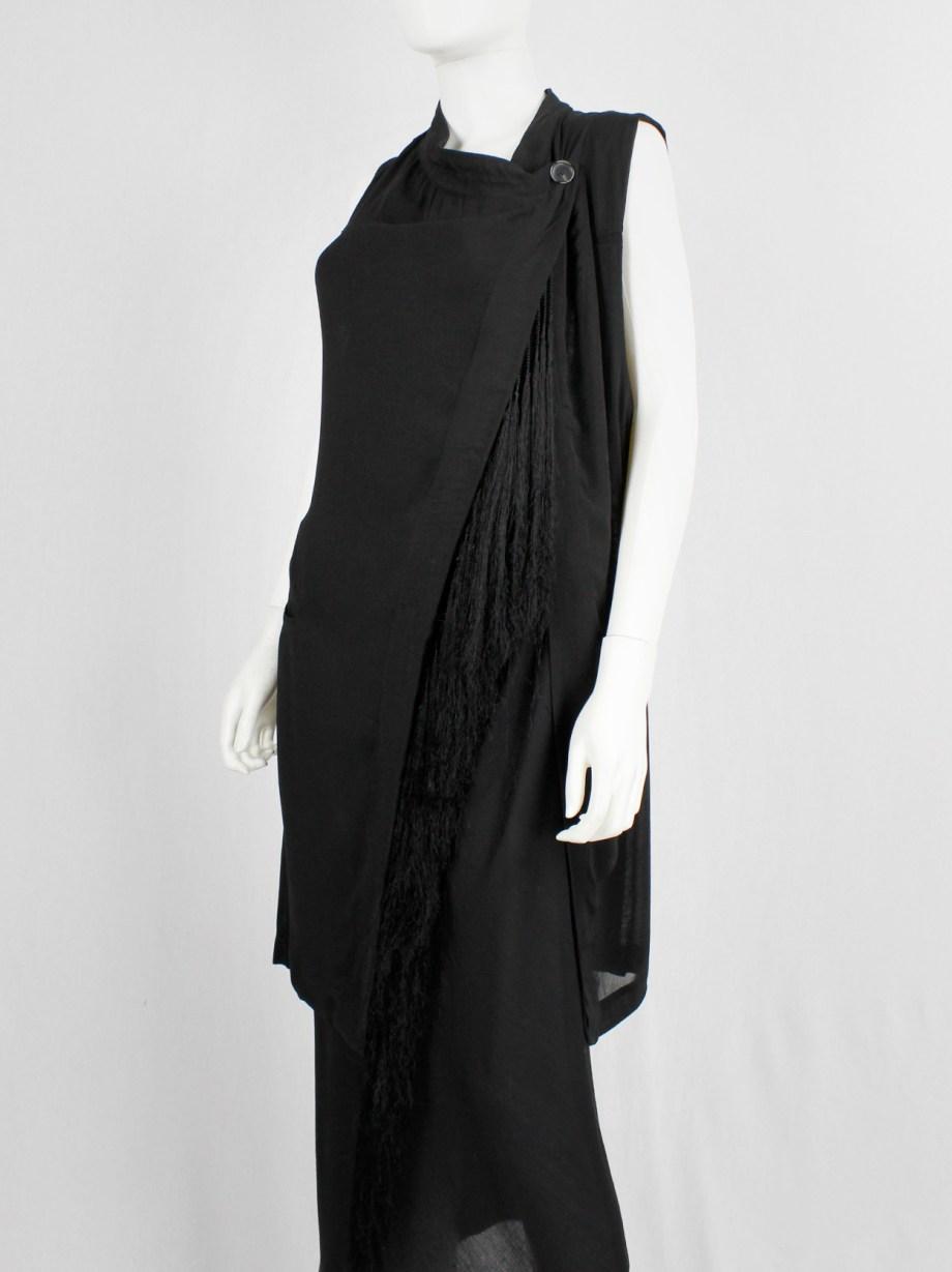 Ann Demeulemeester black long asymmetric vest with braided tassels — spring 2012