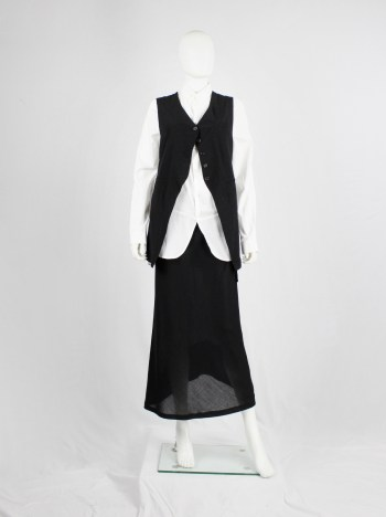 Ann Demeulemeester black one-button cutaway waistcoat with back ties