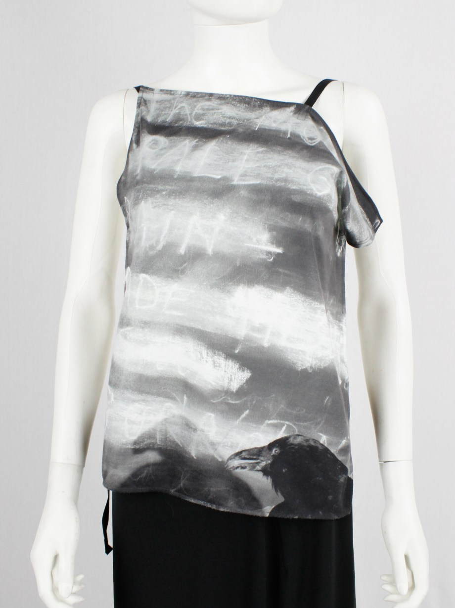 Ann Demeulemeester grey and white backless top with art print by Jim Dine — spring 2000