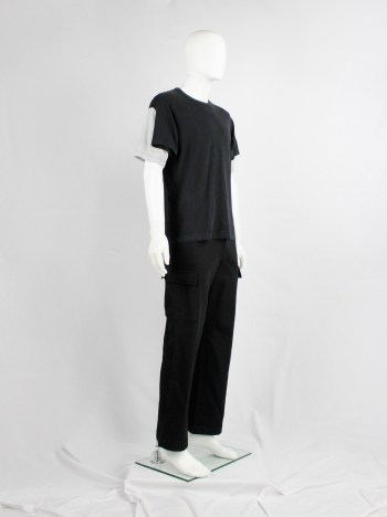 Comme des Garçons Shirt black t-shirt with 4 sleeves in grey and black