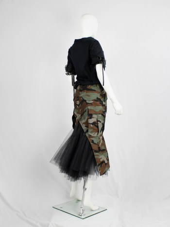 Junya Watanabe camouflage deconstructed mermaid skirt with black tulle pettycoat — fall 2010