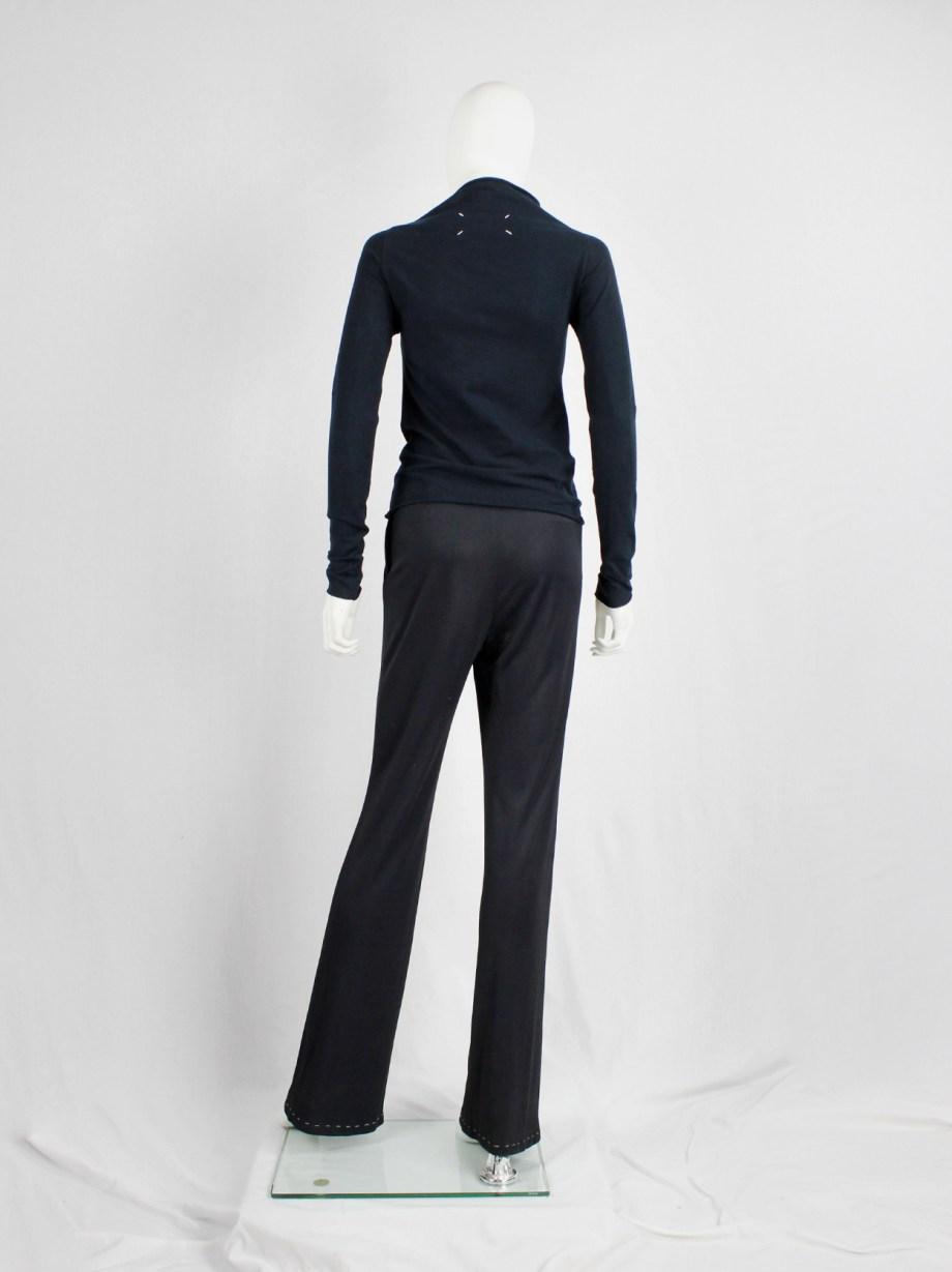 Maison Martin Margiela dark blue high neck jumper with loose threads — fall 1998