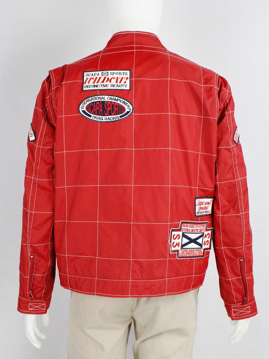 Walter Van Beirendonck for Scapa red F1 jacket with blue and white stripes and patches