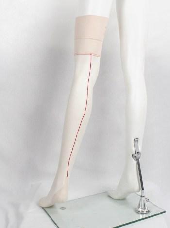 A.F. Vandevorst Nightfall blush pink stockings with red back seam — spring 1999