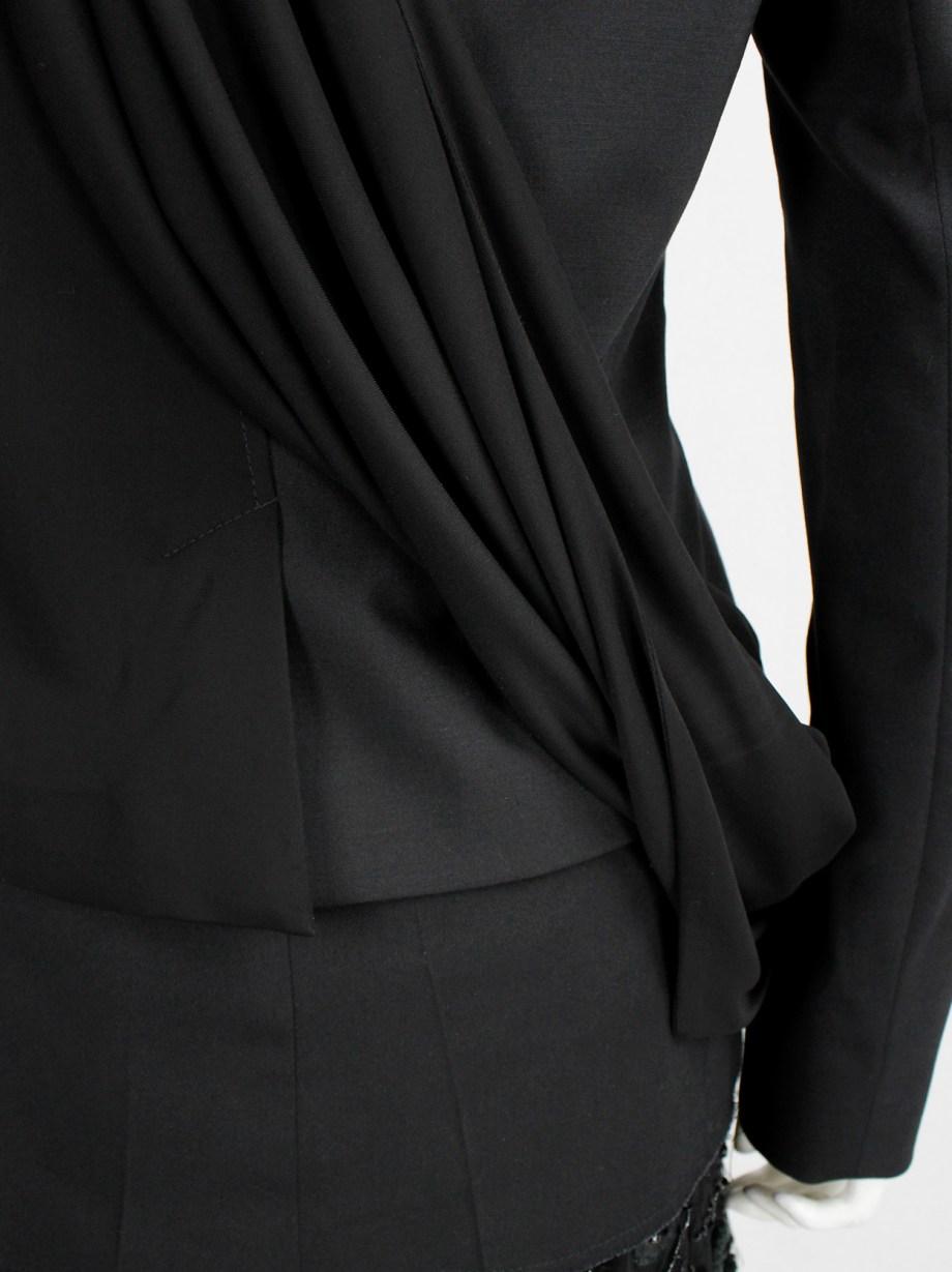 A.F. Vandevorst black biker jacket in two fabrics with draped sash — fall 2010