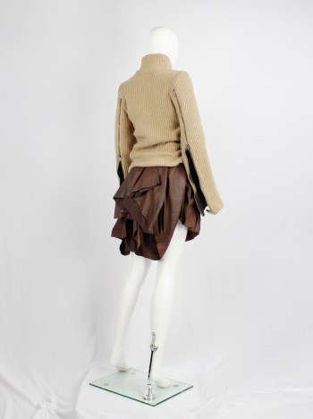 A.F. Vandevorst brown leather pleated skirt with heavy bustle layering — fall 2011