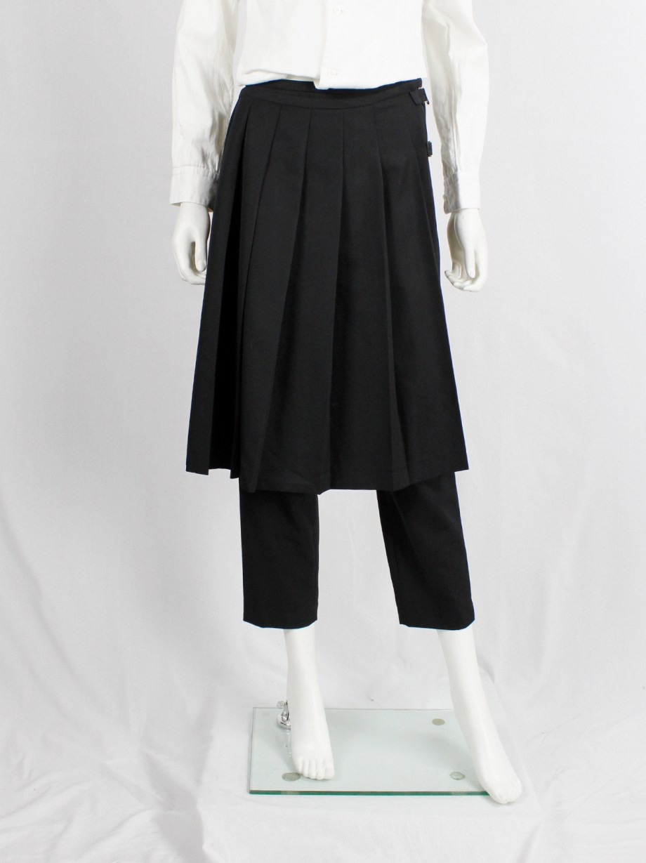 Comme des Garçons Robe de Chambre black trousers with pleated front skirt — AD 2003