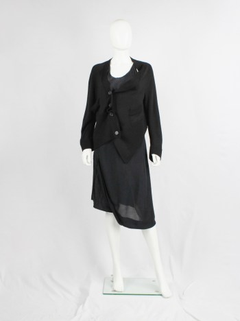 Maison Martin Margiela black asymmetric stretched out cardigan — fall 2006