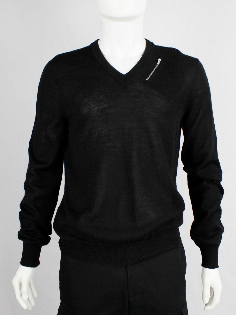Maison Martin Margiela black jumper with slanted zipper pocket at the neck — fall 2006