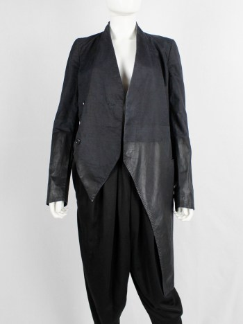 Nicolas Andreas Taralis dark blue slanted jacket with black painted bottom half
