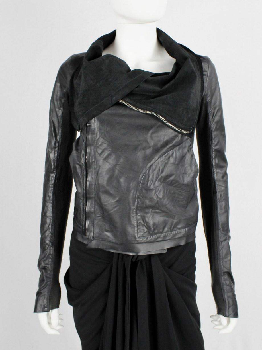 Rick Owens black leather classic biker jacket with standing neckline