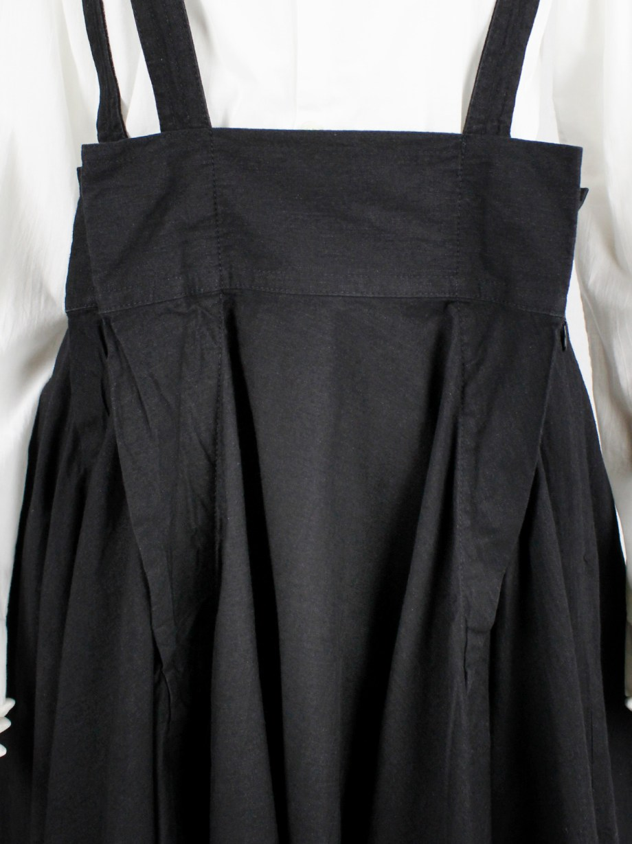 Y's Red Label black paneled dungaree dress with three suspenders