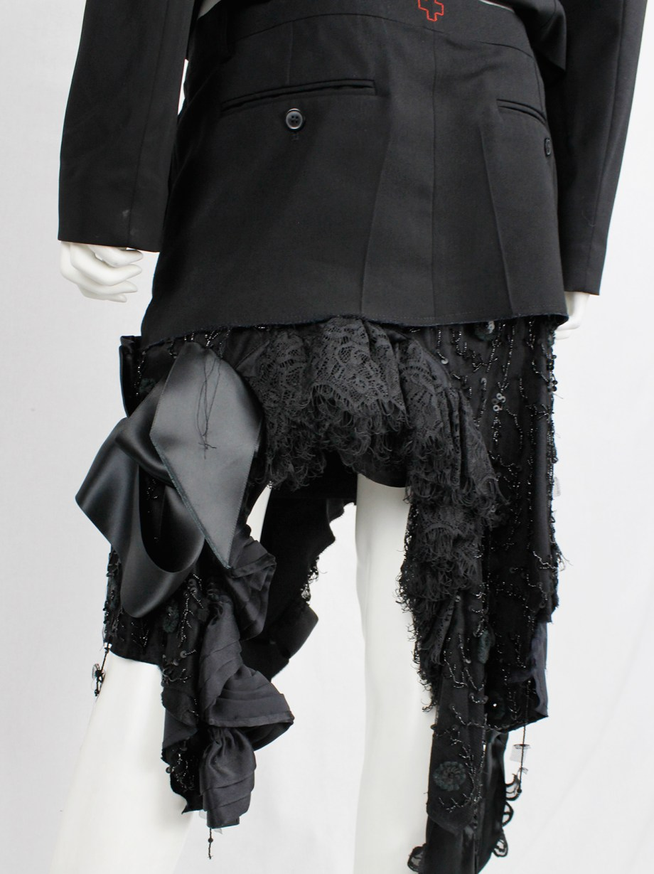 A.F. Vandevorst black skirt made of deconstructed trousers and a wedding dress — spring 2017