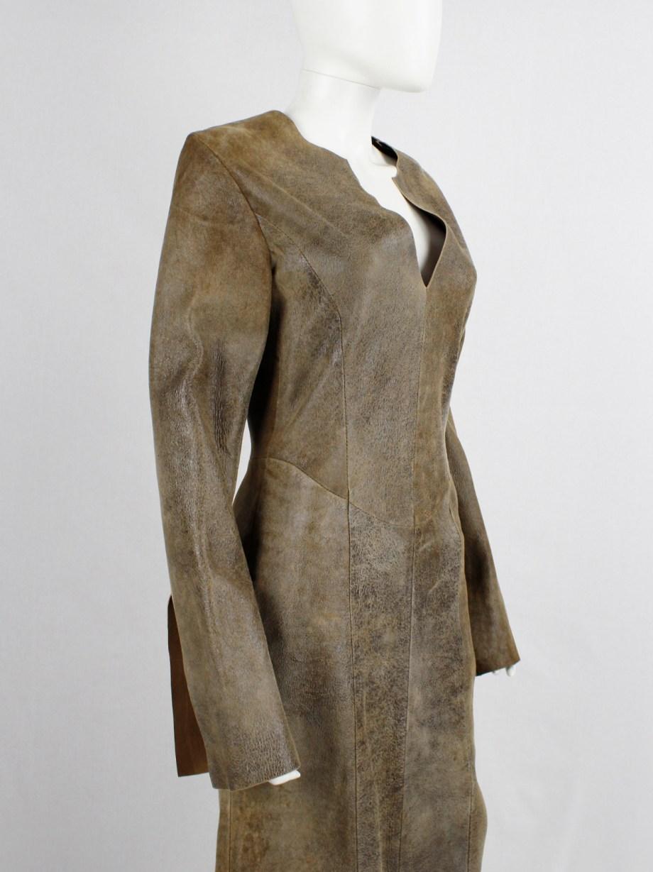 A.F. Vandevorst brown leather panelled maxi dress with back slit — fall 2000