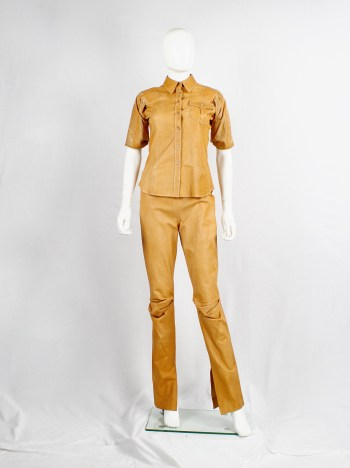 A.F. Vandevorst cognac leather pajama trousers with stretched knees — spring 1999