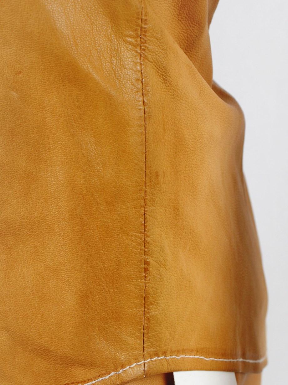 A.F. Vandevorst cognac leather pocket shirt with upwards folded sleeves — spring 1999