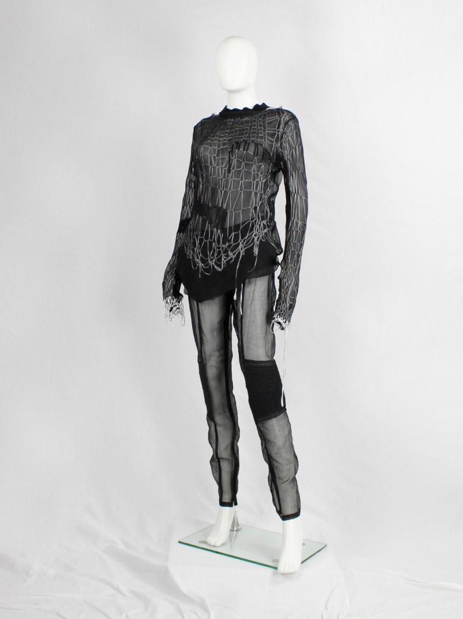 A.F. Vandevorst black sheer biker trousers with padded knee caps — spring 2016