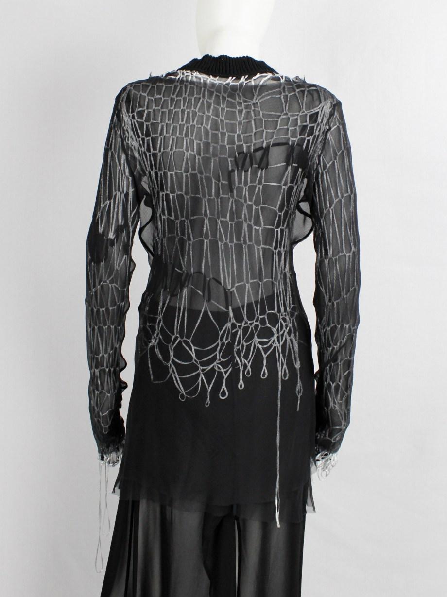 A.F. Vandevorst set of silver spiderweb knit jumper and black sheer jumper — spring 2016