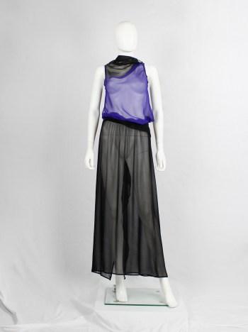 Ann Demeulemeester black sheer maxi skirt with waist fold and back drape — 1990s