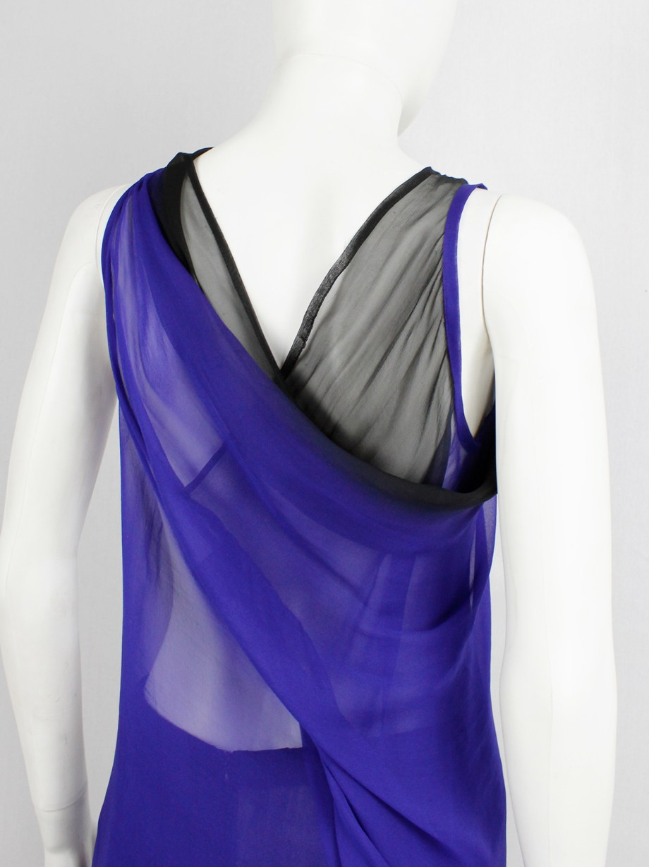 Ann Demeulemeester blue and black ombre sheer top with back drape — fall 2012