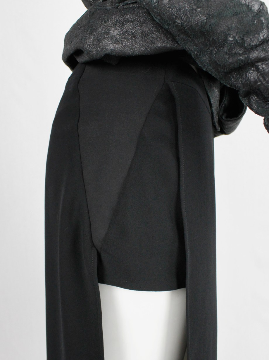 Gareth Pugh black shorts with maxi skirt front and back panel — spring 2017