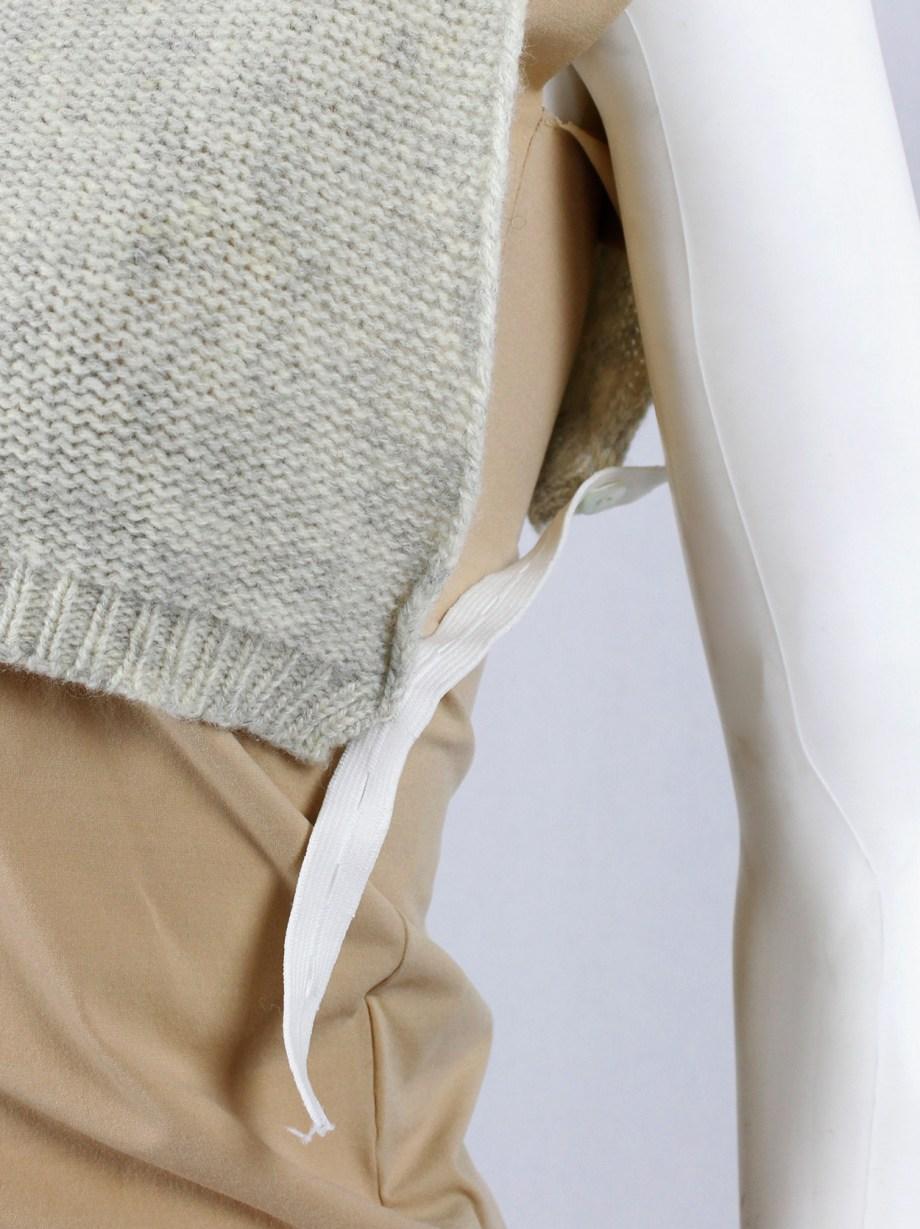 Maison Martin Margiela 6 beige cropped knit panel with turtleneck — 1997/1998
