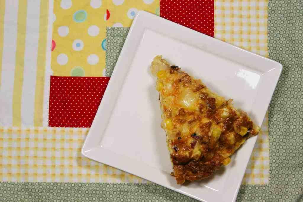slice of pancetta, leek, corn frittata