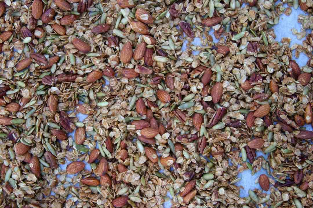 granola on sheet pan