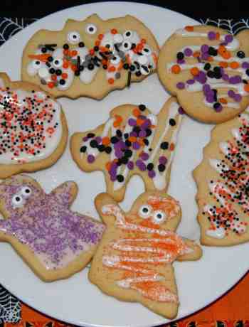 butter cookie cutouts decorated from halloween