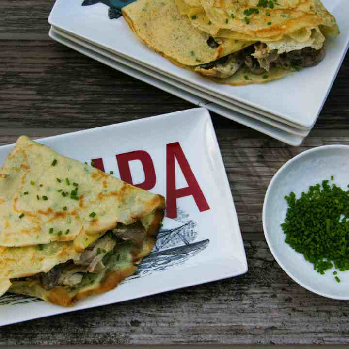 chicken and mushroom crepes