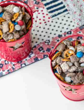 puppy chow with m&ms and pretzels on 4th of July placemat