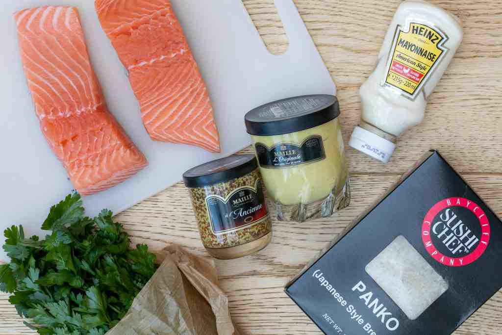 ingredients for panko crusted salmon fillets