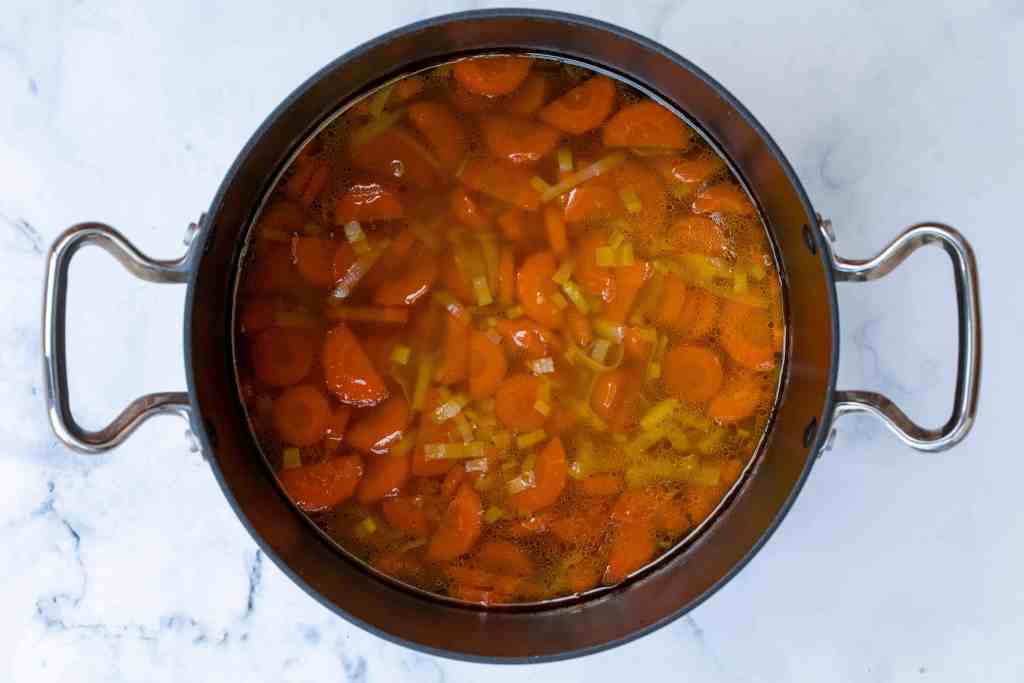 carrot ginger soup in large pot, before pureeing