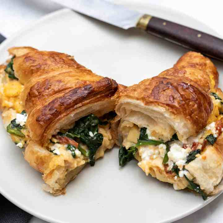 Croissant Breakfast Sandwich with Spinach