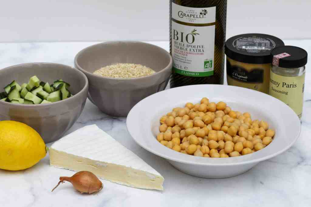 Ingredients for quinoa chickpea salad