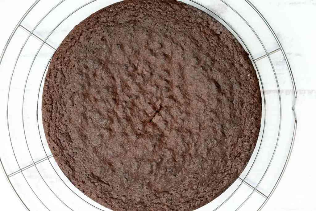 almond flour chocolate cake on cooling rack