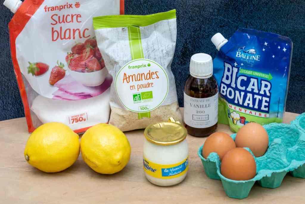sugar, lemons, yogurt, almond flour, vanilla extract, baking soda, eggs