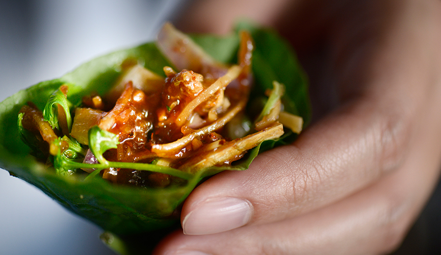 Long Chim Dried Prawns and Toasted Coconut served in Betel Leaf