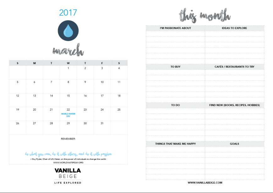 Vanilla Beige Calendar