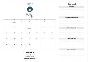 Vanilla Beige May calendar and planner