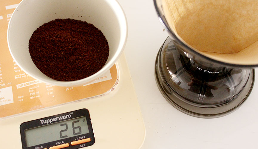 Weigh Coffee Grounds
