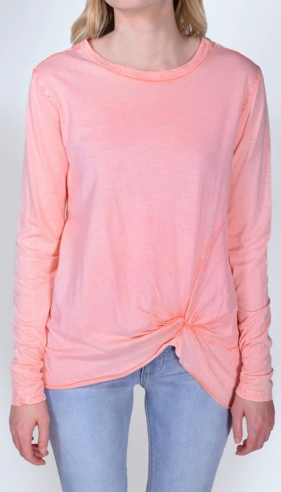 Coral Knot-Front Long Sleeve Tee