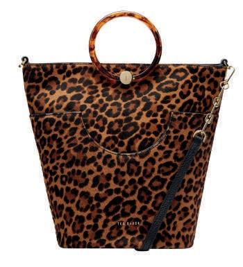 Bolso estampado de leopardo con asa redonda en print de carey Ted Baker