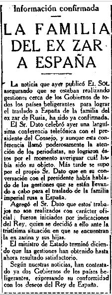 Periódico El Sol, 3 agosto de 1918