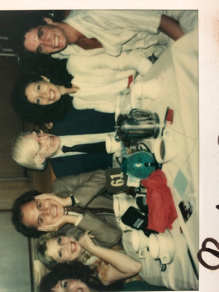 Liz Derringer, Robert Hayes, Andy Warhol, Susan Blond (l to r)