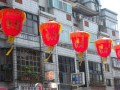 These lanterns in a string of 3 kilometre led us from the station to the temple.